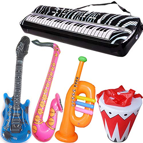 (Inflatable Rock Star Toy Set - 5 Pack Inflatable Inflatable Instrument Toys for Rock and Roll Party Supplies - Guitar, Trumpet, Saxophone, Keyboard Piano,Drum 5 Piece)