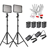 Emgreat® Aputure Amaran AL528KIT( AL-528S * 2) 528 Led Video Light Panel Studio Lighting Kit with Rechargeable Batteries Pack and Pergear Clean Kit