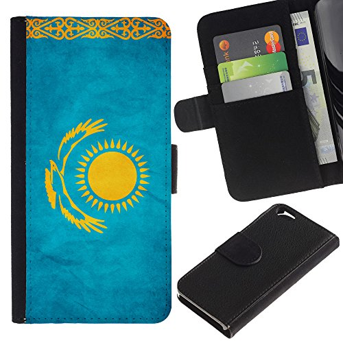 EuroCase - Apple Iphone 6 4.7 - Kazakhstan Grunge Flag - Cuir PU Coverture Shell Armure Coque Coq Cas Etui Housse Case Cover