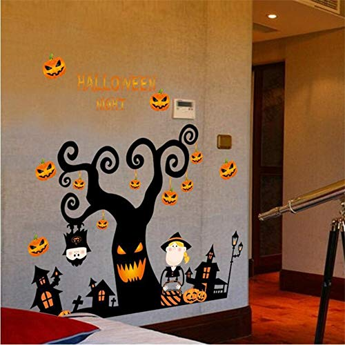 Halloween Night Wall Stickers DIY Terrible Tree House Ghost House Pumpkin Lights Decorative Painting Bedroom Living Room Decal]()