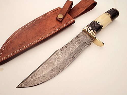 DKC Knives (8 6/18) DKC-819 Capella Bowie Damascus Steel Knife (TM) 15 oz 8