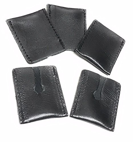 GBS 5 Pack - Leather Double Edge Razor Head Sleeve - Protective Case - Fits All Safety Razor Heads