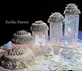 Forbes Favors ™ Set of 4 Acrylic Crystal Chandelier Cake Stand Asian Style With Battery LED Lights Wedding Cake, Anniversary or Special Occasion ( Diameters 6