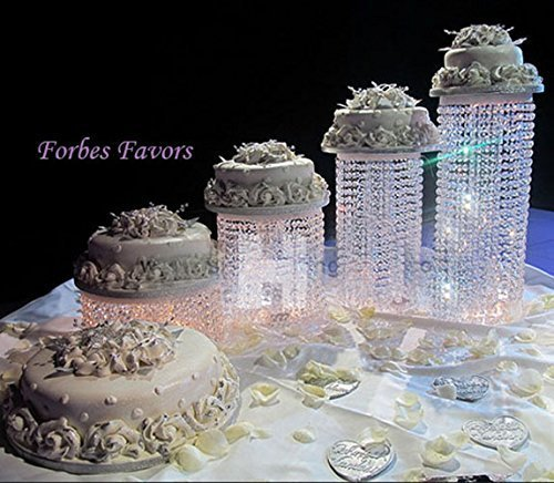 "Forbes Favors ™ Set of 4 Acrylic Crystal Chandelier Cake Stand Asian Style With Battery LED Lights Wedding Cake, Anniversary or Special Occasion ( Diameters 6"", 6"", 8"" 8"")"