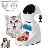 Automatic Dog Feeder Pet Food Dispenser Feeder Medium Large Cat Dog—4 Meal, Voice Recorder Timer Programmable,Portion Control
