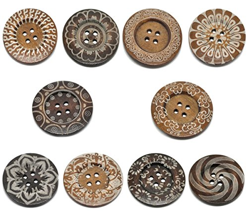 HOUSWEETY 20 Mixed Pattern 4Holes Wood Big Sewing Buttons for Sweater Overcoat 6cm (Crochet Pattern Child Poncho)