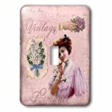 3dRose Andrea Haase Illustration - Nostalgic Woman Illustration In Shades Of Soft Pink - Light Switch Covers - single toggle switch (lsp_274857_1)