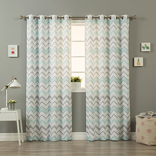 Best Home Fashion Nordic Wave Curtains - Stainless Steel Nickel Grommet Top - Mint - 52
