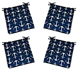 Set of 4 - Universal 2'' Thick Foam Seat Cushion with Ties for Dining / Patio Chair - Navy Blue with White Anchors Nautical Fabric - Choose Size (16'' x 16'')