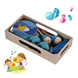 ZUINIUBI Musical Instruments for Toddlers, Wooden Percussion Toys Set Including Tambourine Maracas Castanets harmonica for Kids Children
