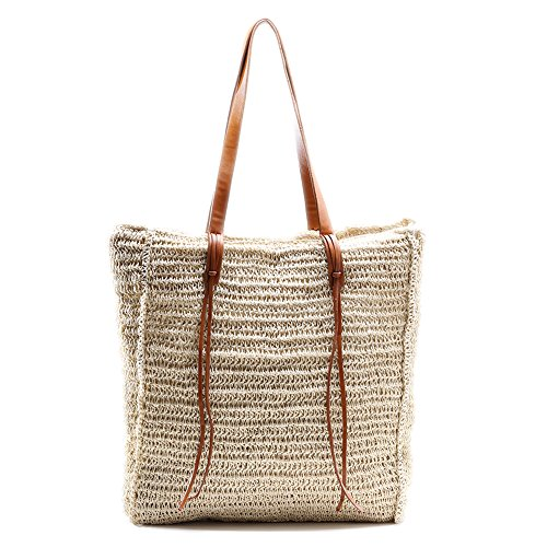 Beach Bag by Miss Fong, Tote Bag For Women, Straw Bag with Inner Zipper Pocket and Leather Handle ()