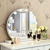 Tangkula Round Hollywood Mirror with Lights, Makeup Vanity Mirror with 12 Dimmable Led Bulbs, Tabletop Lighted Cosmetic Mirror for Dressing Room, Adjustable Brightness, Touch Control