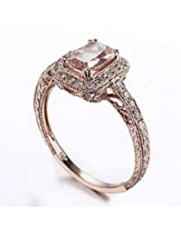 GOWE Brilliant Solid 10K Rose Gold Cushion 7x5mm Morganite Pave Natural Diamond Engagement Wedding Art Deco Fine Jewelry Ring