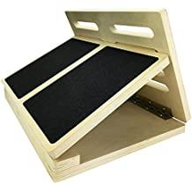 "Professional Wooden Slant Board, Adjustable Incline Calf Stretch Slantboard, 17"" x 13"", 4 Positions, Featuring Safety Angle Lock System & Anti-Slip Rubber Base (300 lbs Capacity)"