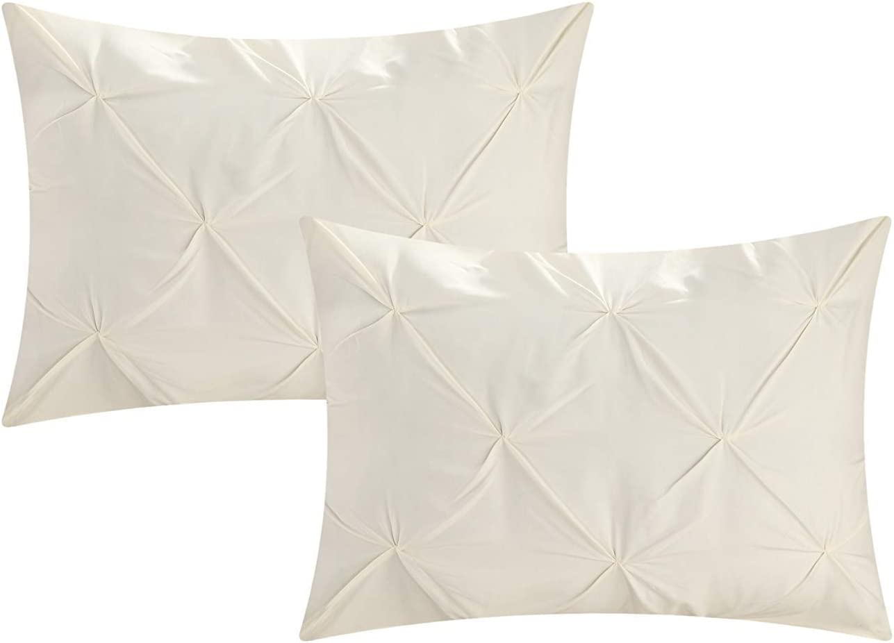 Pinch Pleated Standard Pillow Sham Set Of 2 - Comfort & Elegant 600 Thread Count Ivory Pinch Pillow Shams Standard 20x26 Size 100% Egyptian Cotton Standard Size Decorative Pillow Covers Set