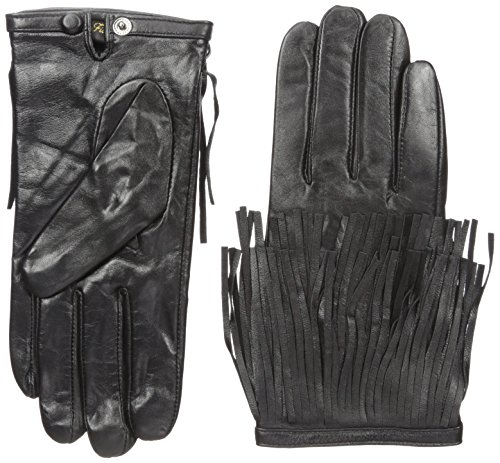 La Fiorentina Women's Leather Glove with Fringed Wrist Cuffs, Black, 7/Small Ladies Fringed Leather