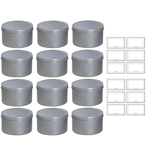 (Silver Deep Metal Tin Containers with Screwtop Twist Lids 16 oz (12 Pack) + Labels)