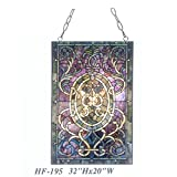HF-195 Pastoral Tiffany Style Stained Glass Purple Decorative Window Hanging Glass Panel Suncatcher, 32''Hx20''W