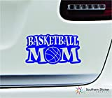 Basketball mom ball 7x3.7 blue family cute sports ball outdoors gym uniform united states color sticker state decal vinyl - Made and Shipped in USA