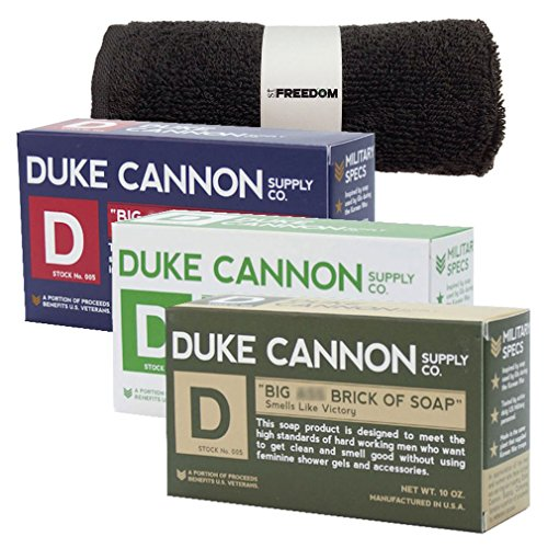 Duke Cannon Mens Bar Soap Bundle and Freedom Washcloth - 3 Big American Bricks Of Soap By Duke Cannon: Productivity, Supremacy, - Iii Duke
