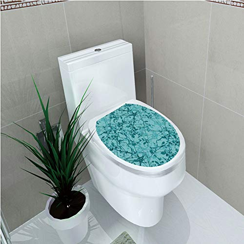 """Toilet Applique,Teal,Ink Drawing Inspired Intertwined Tree Branches Buds and Leaves in Abstract Design Decorative,Teal Turquoise,Custom Sticker,W12.6""""xH14.9"""" -  HongKong Fudan Investment Co., Limited, AHLY-MTT-0055355K32xG38CM"""