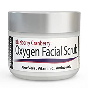 Facial Scrub - Blueberry Cranberry Anti Oxidant Face Exfoliating Scrub by Derma-nu - With Aloe Vera, Vitamin C and Amino Acids - 2oz
