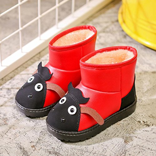 HUHU833 Kinder Mode Jungen Mädchen Stiefel Martin Stiefel Winter Warm Boots Kinder Schuhe Casual Snow Boots Rot