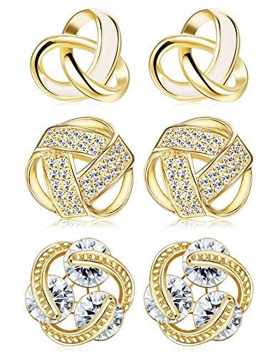 (Udalyn 3 Pairs Love Knot Earrings Set Stainless Steel CZ Stud Earrings for Women Girls Gold Tone)