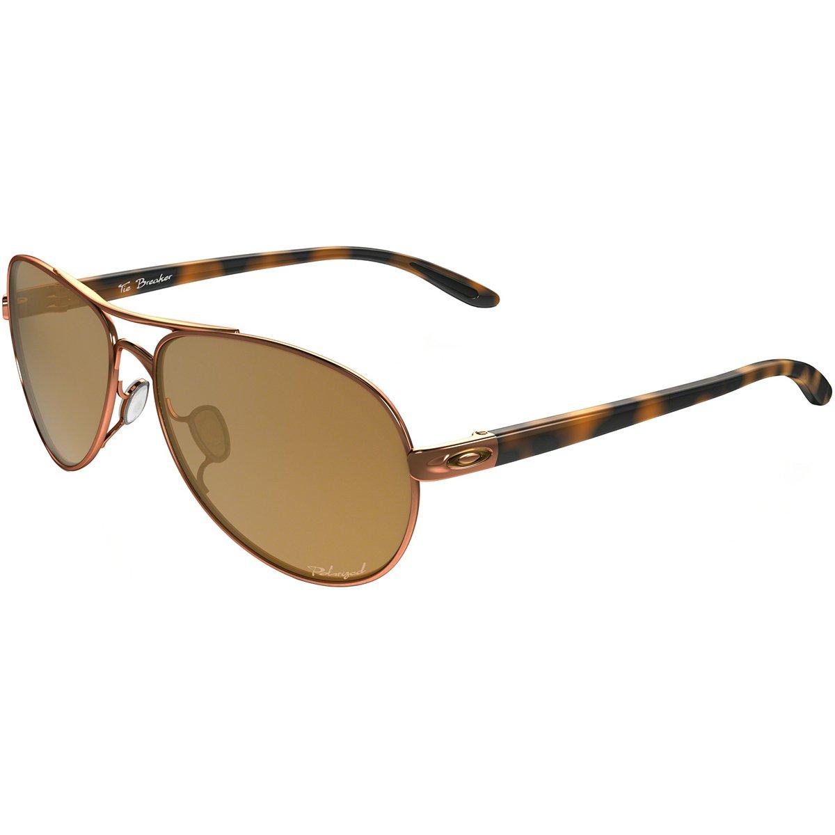 Oakley Women's Tie Breaker Polarized Aviator Sunglasses, Rose Gold, 56 mm by Oakley