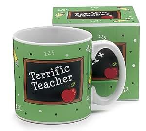 1 X Terrific Teacher Mug - School Daze -Ceramic - Chalkboard and Apple - New