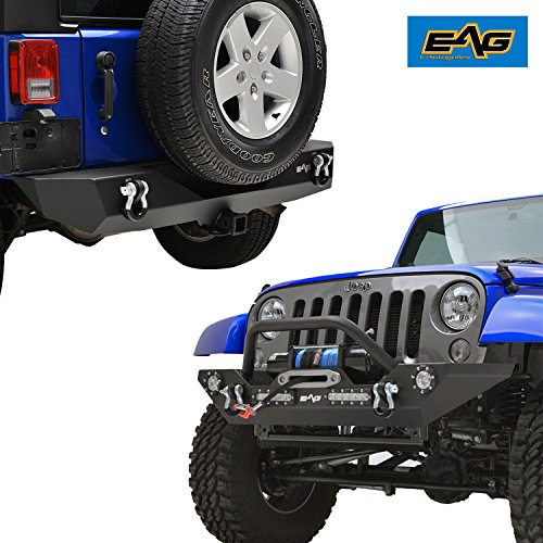 (EAG Jeep JK LED Front Bumper and Rear Bumper Combo - Winch Plate - Receiver Hitch)