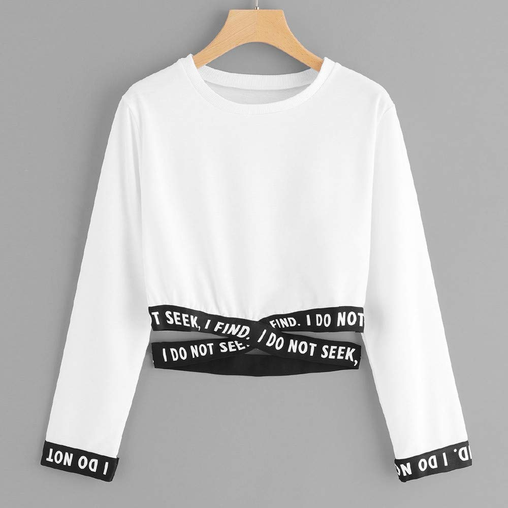 Amazon.com: Sweatshirts Women Crop Top Straps Elegant Letter ...