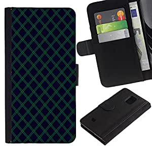 iKiki Tech / Cartera Funda Carcasa - Navy Blue Green Lines Diamond - Samsung Galaxy S5 Mini, SM-G800, NOT S5 REGULAR!