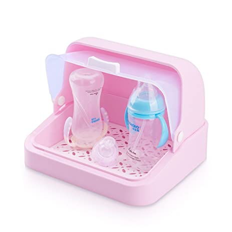 Mural Art Baby Bottles Storage Box Drying Rack with Anti-dust Cover Bread Box Tableware  sc 1 st  Amazon.com & Mural Art Baby Bottles Storage Box Drying Rack with Anti-dust Cover Bread Box Tableware Bottle Finishing Boxes (Pink)
