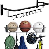 Wall Mount Sports Ball Rack Storage Bar Rail With Hooks Set of 2 Black Garage Organizer