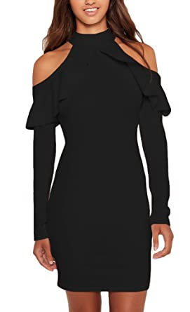 Annflat Women's Ruffle Cold Shoulder Long Sleeve Cocktail Party ...