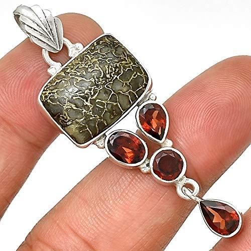 Dinosaur Bone Necklace Fossil Pendant Garnet Necklace 925 Sterling Silver Animal Bone Natural Jewelry P202