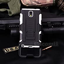 Galaxy Note 3 Case, Cocomii Robot Armor NEW [Heavy Duty] Premium Belt Clip Holster Kickstand Shockproof Hard Bumper Shell [Military Defender] Full Body Dual Layer Rugged Cover Samsung N9000 N9005 (White)