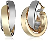 14k White and Yellow Gold Two-Tone Polished Crossover Hoop Earrings