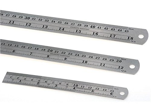 3PCS 18inch + 12inch + 6inch Stainless Steel Ruler Metal Ruler Kit with Conversion Table Marked Straight Measuring Rulers for Office & Educational - Time Kit Conversion