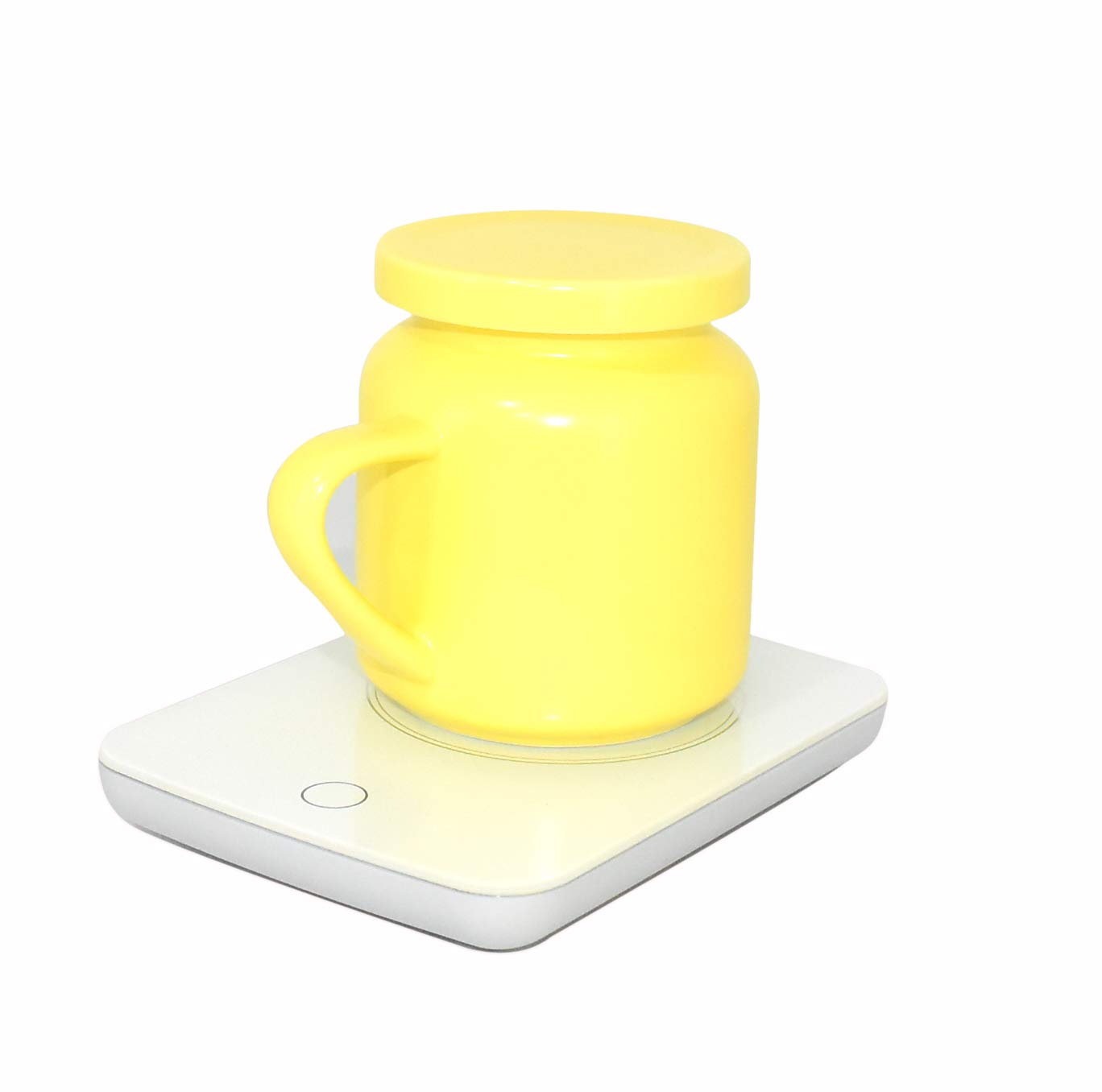 OKCafe Auto Shut Off Coffee Mug Warmer Electric Heat Cup Warmer for Milk Include Yellow Ceramic Mug for Office and Home Use 10.8 Ounce