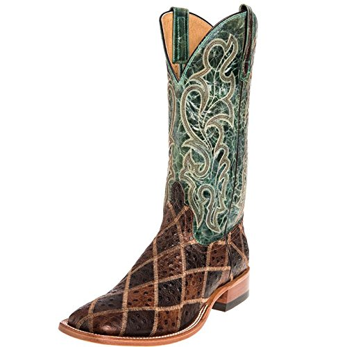 Horse Power Mens Angry Bird Patchwork Cowboy Boots 10.5 D(M) US Brown/Turquoise