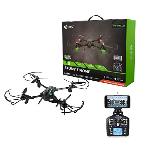 Contixo F6 RC Quadcopter Racing Drone 2.4Ghz 720P Rotating HD Video Camera Live FPV Headless Mode Up to 18min Fly Time Mobile App Altitude Hold VR Compatible - Best Gift