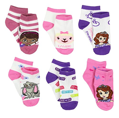 Disney Jr Doc McStuffins and Sofia the First Princess Toddler 6 pk Ankle Socks (2T-4T) for $<!--$12.99-->