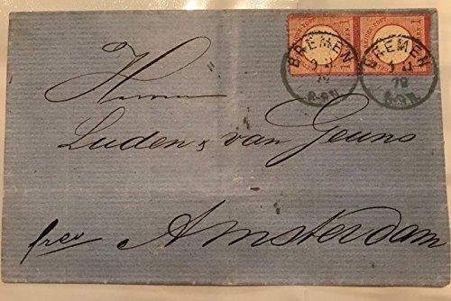 1872 POSTAL STATIONERY STAMPED COVER - BREMEN, GERMANY to AMSTERDAM, NETHERLANDS