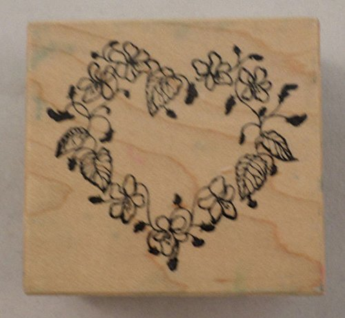 Psx Flower And Leaf Vining Heart F-466 Wooden Rubber - 466 Rubber