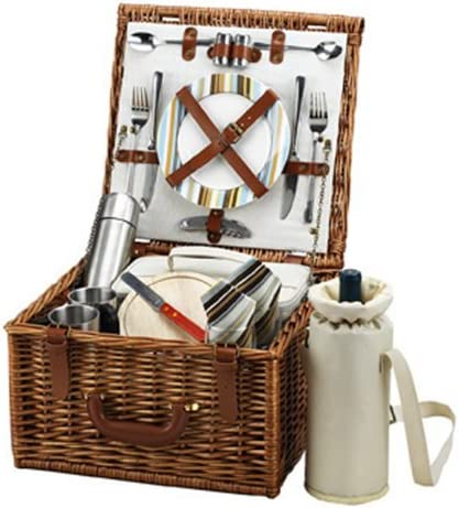 Picnic at Ascot Cheshire English-Style Willow Picnic Basket with Service for 2 and Coffee Set – Santa Cruz