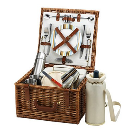 Picnic at Ascot Cheshire English-Style Willow Picnic Basket with Service for 2 and Coffee Set - Santa Cruz ()
