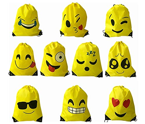 Kinteshun Emoji Drawstring Backpack,Emoticon Shoulder Bag Pouch for Emoji Party Favor Supplies(10pcs with Different Faces) -