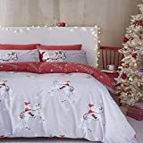 Catherine Lansfield Christmas Unicorn Easy Care Double Duvet Set Grey